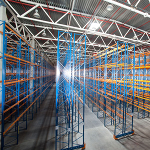 A warehouse with a newly installed sprinkler system
