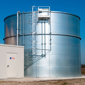 A large silver fire safety water storage tank installation